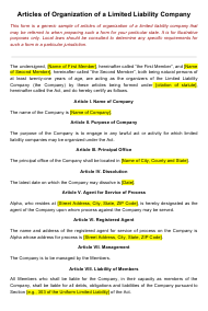 """""""Articles of Organization of a Limited Liability Company"""""""