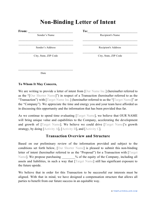 """Non-binding Letter of Intent Template"" Download Pdf"