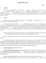 Promissory Note Template - Florida
