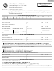 """State Form 50635 """"Affidavit of Sale or Disposal - Abandoned Manufactured Home"""" - Indiana"""