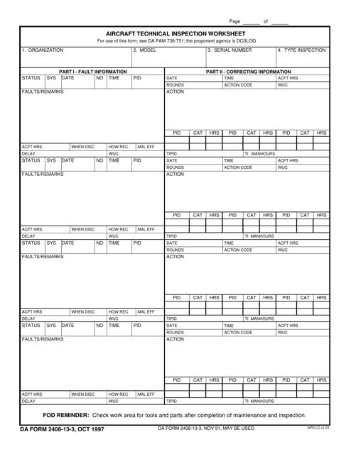 DA Form 2408-13-3 Printable Pdf