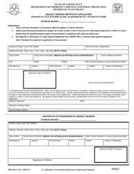 """Form DPS-414-C """"Assault Weapon Certificate Application"""" - Connecticut"""