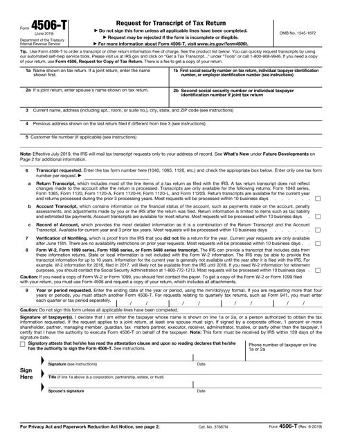 IRS Form 4506-T  Printable Pdf