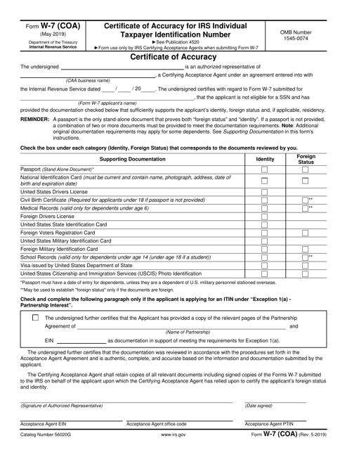 IRS Form W-7 (COA)  Printable Pdf