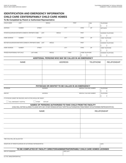 Form LIC700  Printable Pdf