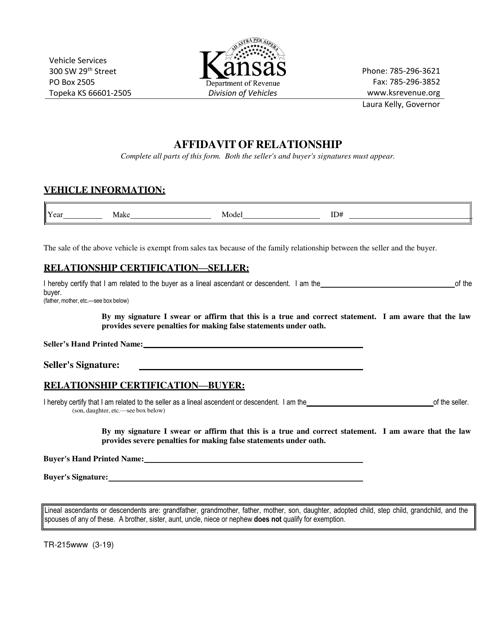 Form TR-215  Printable Pdf