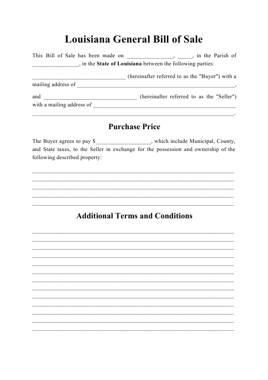 """Generic Bill of Sale"" - Louisiana Download Pdf"