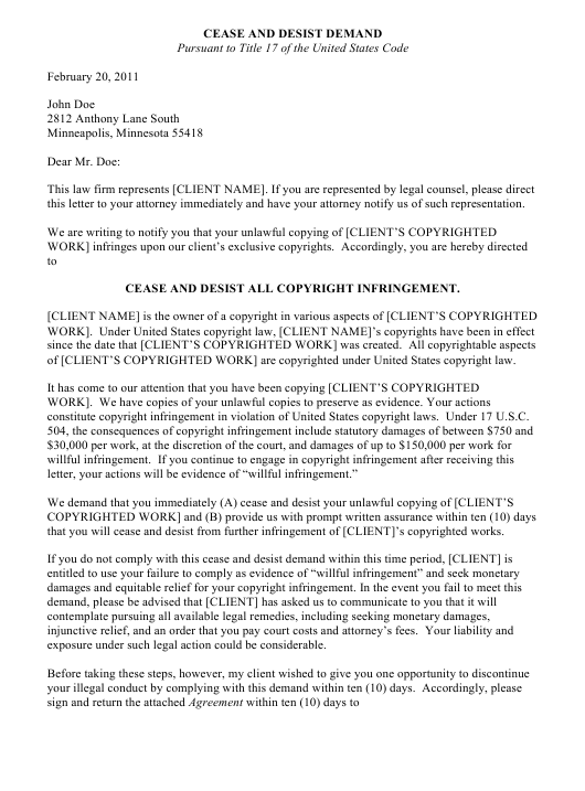 "Sample ""Cease and Desist Demand Letter Template"" Download Pdf"
