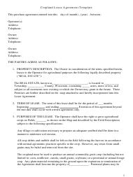 """Cropland Lease Agreement Template"""