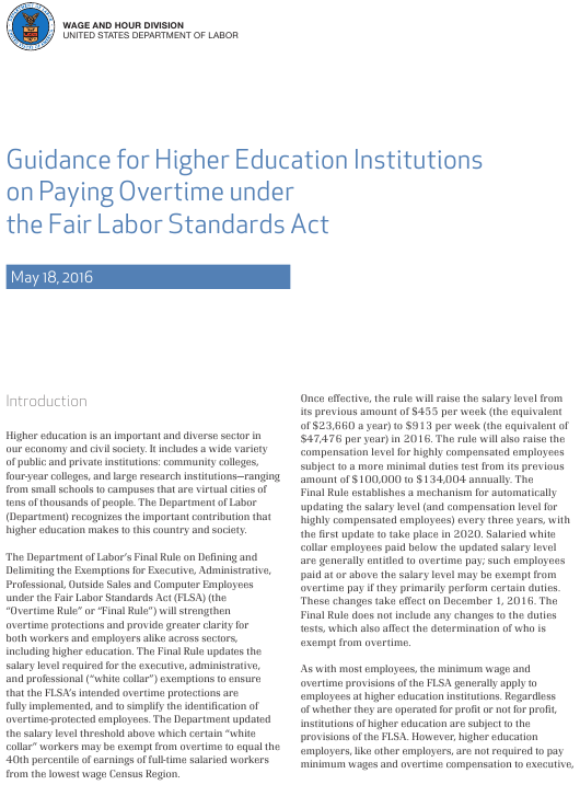 """""""Guidance for Higher Education Institutions on Paying Overtime Under the Fair Labor Standards Act"""" Download Pdf"""