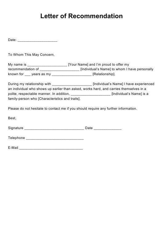 """Letter of Recommendation Template"" Download Pdf"