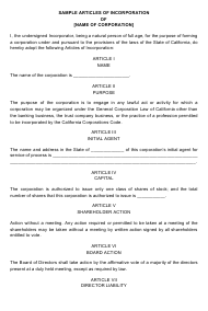 """Articles of Incorporation Template"" - California"