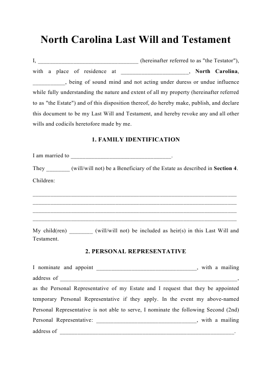 North Carolina Last Will And Testament Download Printable
