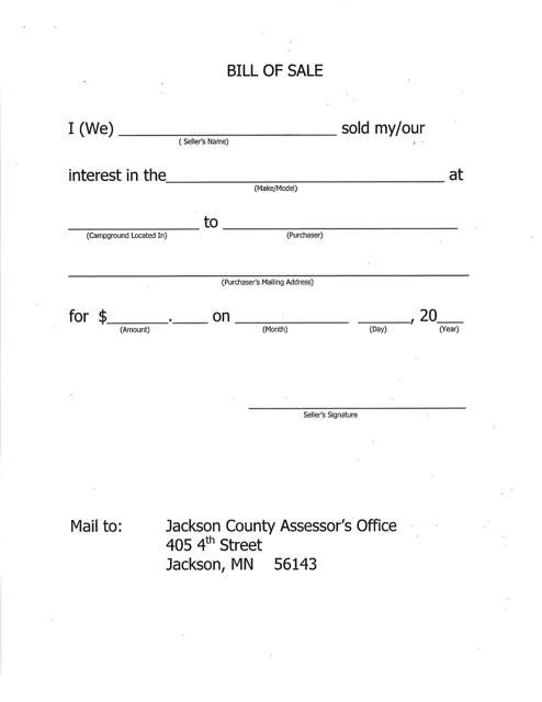 """Mobile Home Bill of Sale"" - Jackson County, Minnesota Download Pdf"