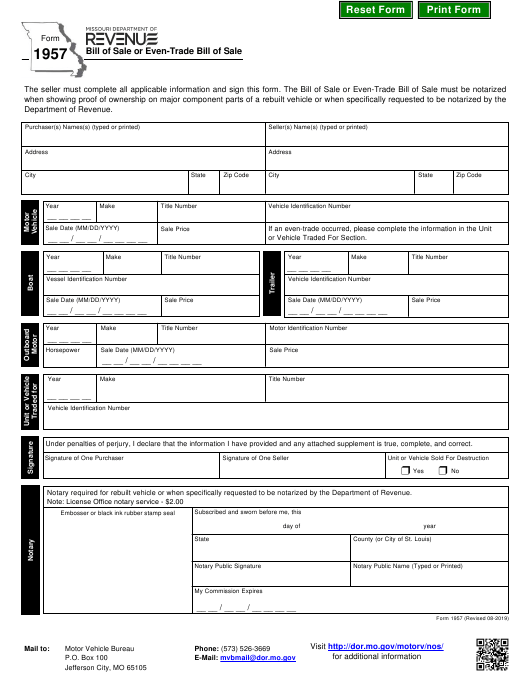 Form 1957 Download Fillable Pdf Bill Of Sale Or Even Trade
