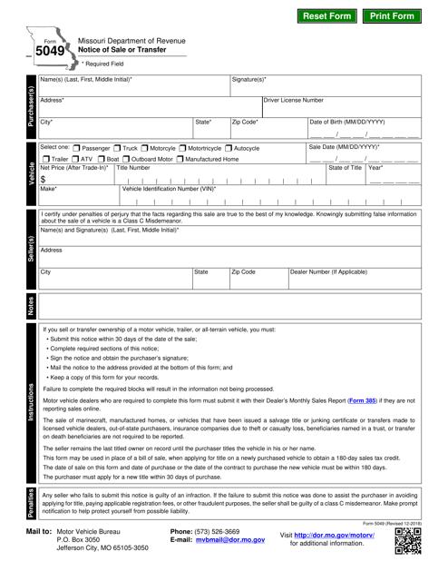 Form 5049  Printable Pdf
