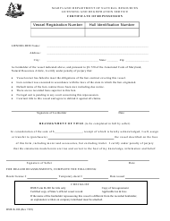 """DNR Form B-106 """"Certificate of Repossession"""" - Maryland"""