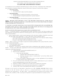 """Instructions for DNR Form B-117 """"Claim for Abandoned Vessel"""" - Maryland"""
