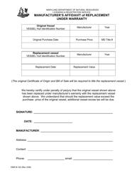 "DNR Form B-102 ""Manufacturer's Affidavit of Replacement Under Warranty"" - Maryland"
