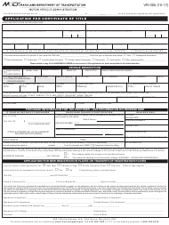 "Form VR-005 ""Application for Certificate of Title"" - Maryland"