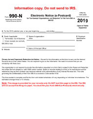 "IRS Form 990-N ""Electronic Notice (E-Postcard)"", 2019"