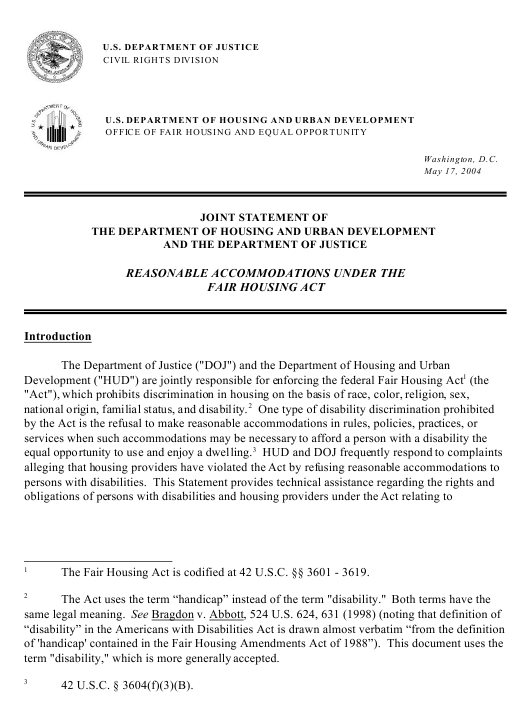 """""""Reasonable Accommodations Under the Fair Housing Act - Joint Statement of the Department of Housing and Urban Development and the Department of Justice"""" Download Pdf"""