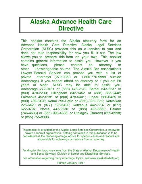 Advance Directive for Health Care - Alaska Download Pdf