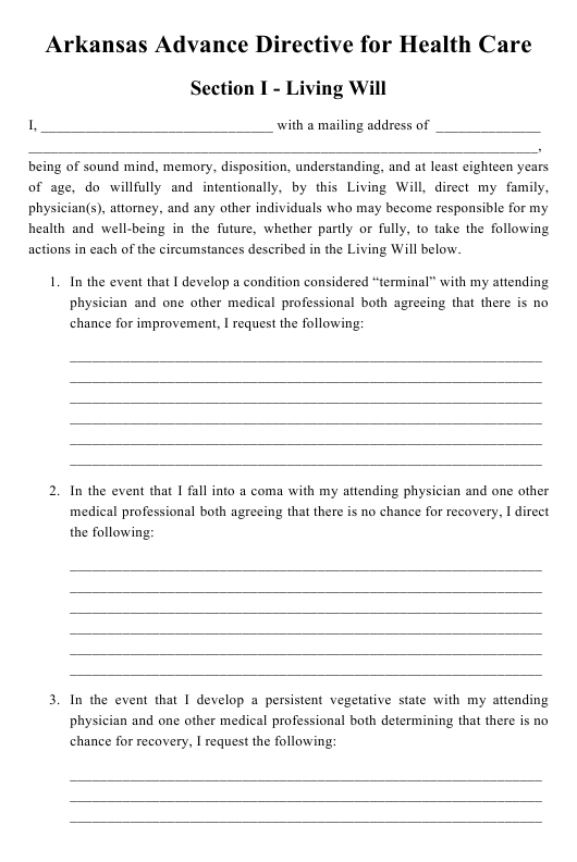 """Advance Directive for Health Care"" - Arkansas Download Pdf"