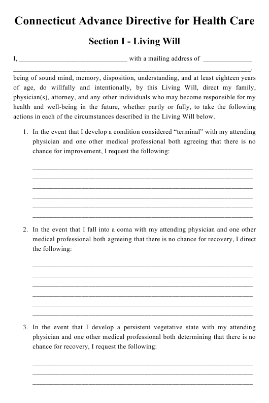 """Advance Directive for Health Care"" - Connecticut Download Pdf"