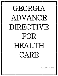"""Advance Directive for Health Care"" - Georgia (United States)"