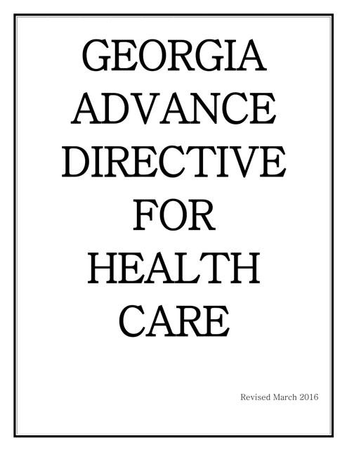 """Advance Directive for Health Care"" - Georgia (United States) Download Pdf"