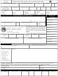 "Form MVD-10003 ""Application for Vessel Title and Registration"" - New Mexico"
