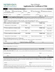 "Form RV-707 ""Application for Certificate of Title"" - Nebraska"