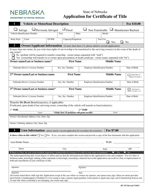 Form RV-707  Printable Pdf