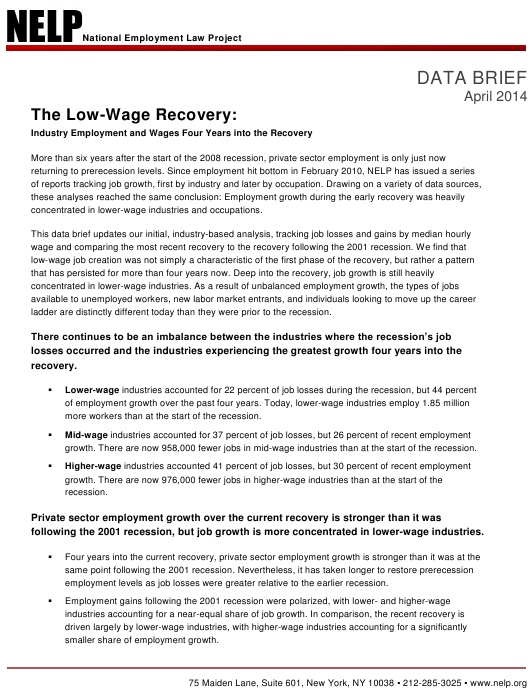 """The Low-Wage Recovery - National Employment Law Project"" Download Pdf"