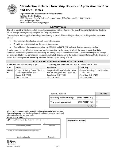Form 440-2952  Printable Pdf
