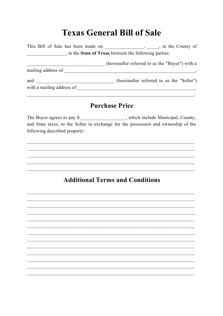 Texas Generic Bill Of Sale Download Printable Pdf Templateroller
