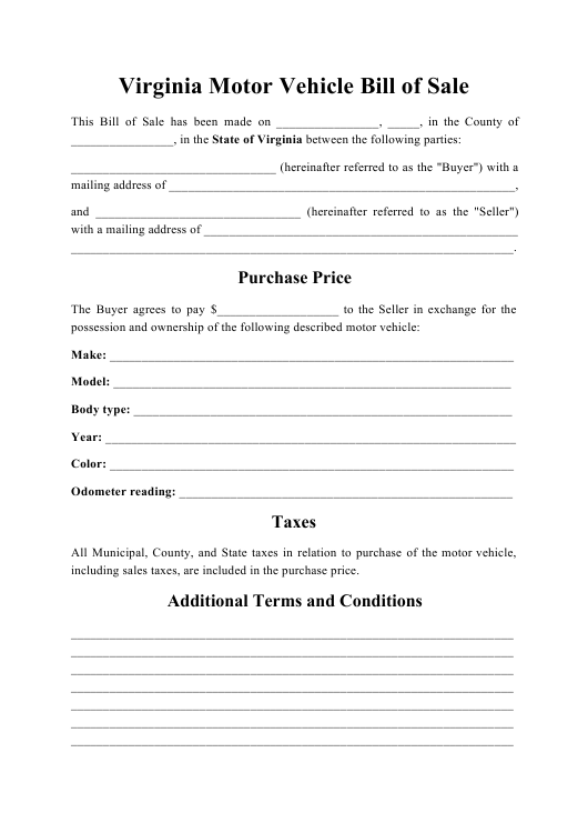 """Motor Vehicle Bill of Sale"" - Virginia Download Pdf"