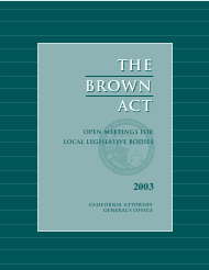 """The Brown Act: Open Meetings for Legislative Bodies"" - California, 2003"