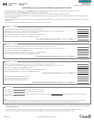 "Form T2 Worksheet 3 ""Calculating Your Quarterly Instalment Payments"" - Canada, 2019"