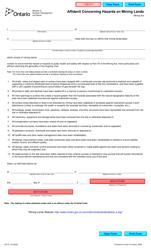 "Form 0271E ""Affidavit Concerning Hazards on Mining Lands"" - Ontario, Canada"