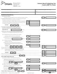"Form 0940B ""Ontario Book Publishing Tax Credit (Obptc) Claim"" - Ontario, Canada"