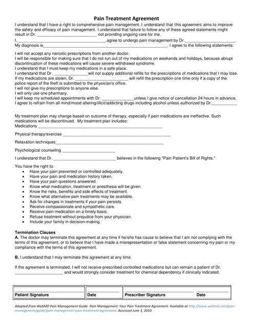 """Pain Treatment Agreement Template - Virginia Commonwealth University"" Download Pdf"