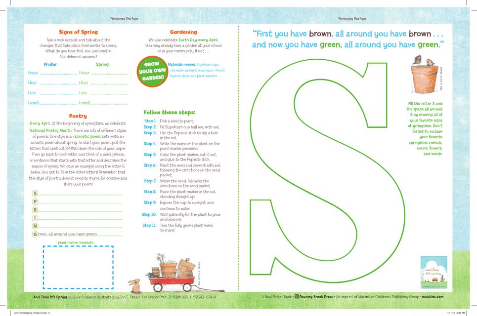 Spring Acrostic Poem Template Pre K 2 Nd Grades Download Printable