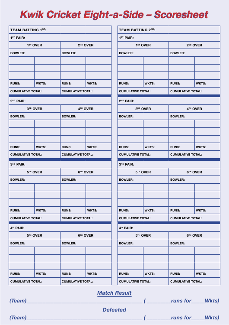 """Kwik Cricket Eight-A-side Scoresheet Template"" Download Pdf"
