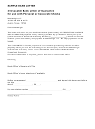 Sample Irrevocable Bank Letter of Guarantee for Use With Personal or Corporate Checks