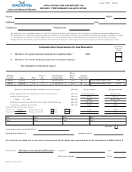 "Form NS-03 ""Application for and Report on Welder Performance Qualification"" - Nova Scotia, Canada"