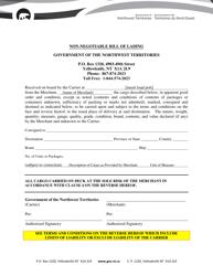 """Non-negotiable Bill of Lading"" - Northwest Territories, Canada"