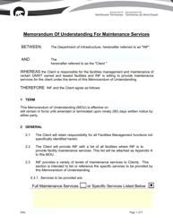 """Memorandum of Understanding for Maintenance Services"" - Northwest Territories, Canada"