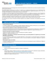 """""""Formulaire De Demande D'agrement - Librairie"""" - Quebec, Canada (French)"""